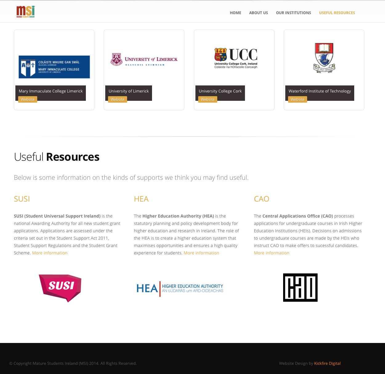 Mature Students Ireland Web Design Homepage