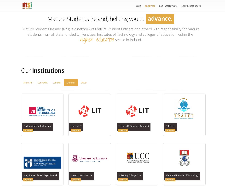 Mature Students ireland Web Design Homepage 2