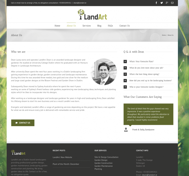 LandArt Website Design About