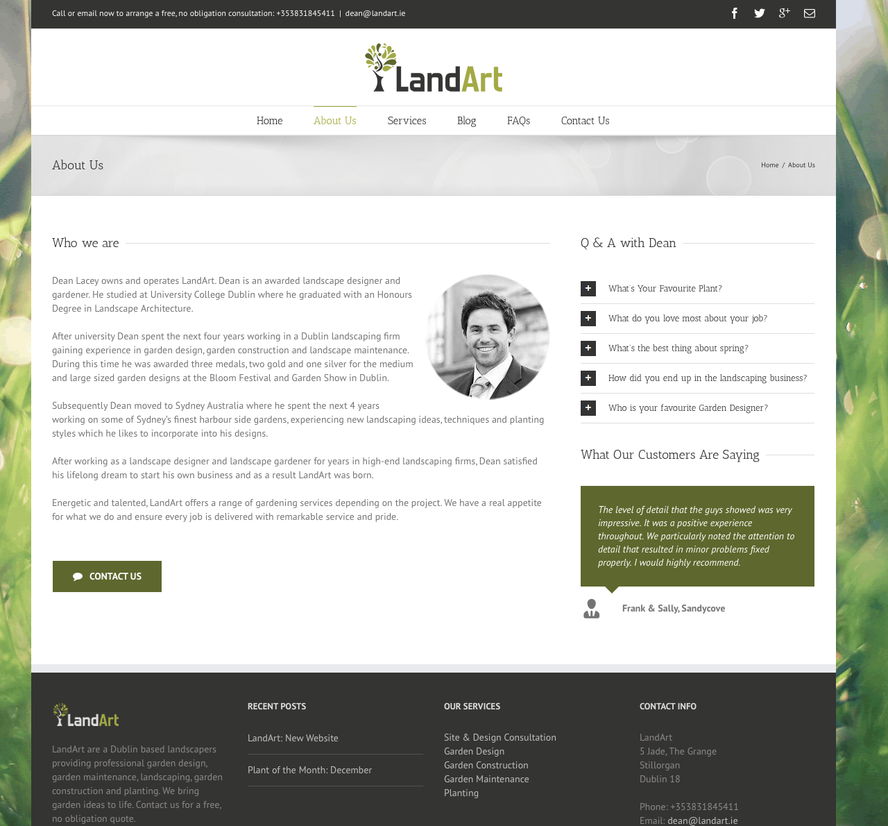 LandArt Website Design About