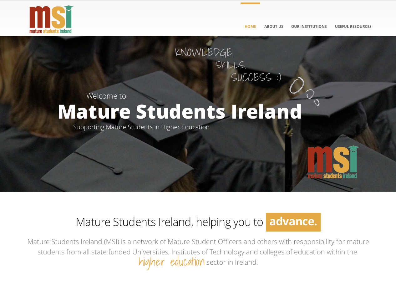 Mature Students Ireland website